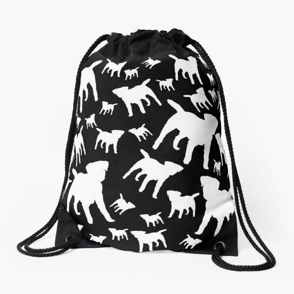 Border Terrier Gifts for Dog Lovers Black & White Silhouette Drawstring Bag