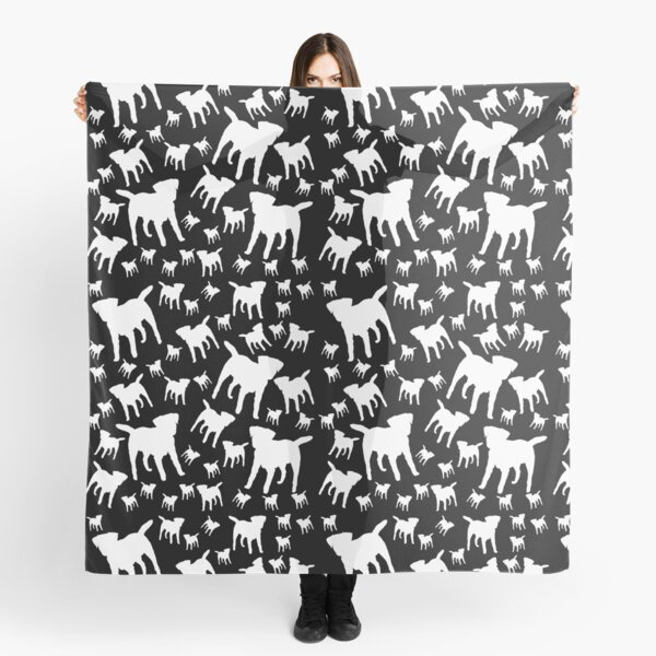 Border Terrier Gifts for Dog Lovers Black & White Silhouette Scarf