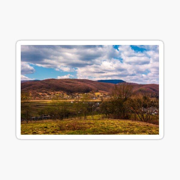 mountainous countryside in springtime Sticker