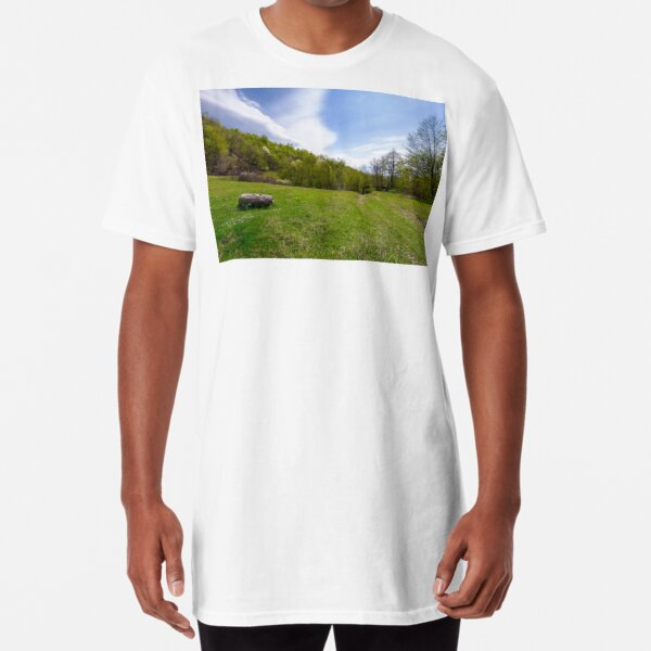 log on the grassy meadow among the forest Long T-Shirt