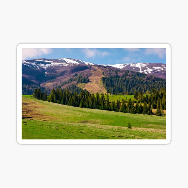 beautiful countryside with snow on mountain top Sticker