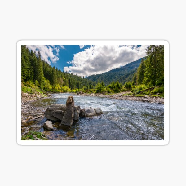 boulders on cascade of the forest river Sticker