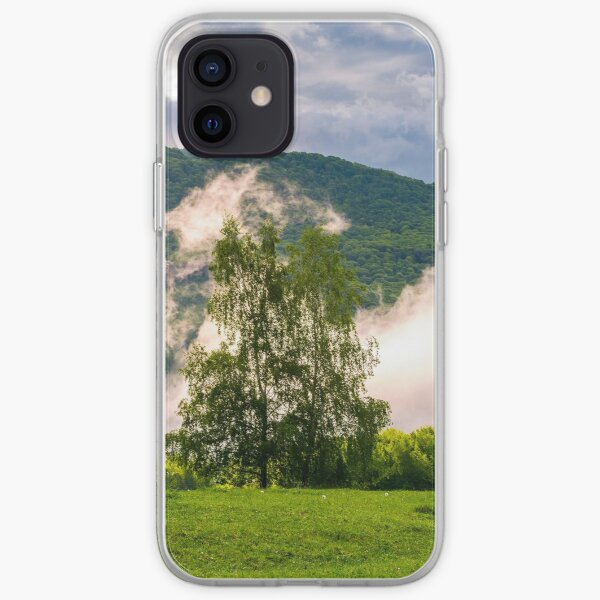 fog rising behind the forest on a hillside iPhone Soft Case