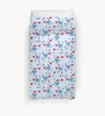 Border Terrier Gifts for Dog Lovers Red, White & Blue Silhouette Duvet Cover