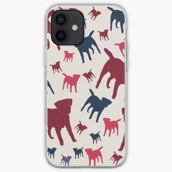 Border Terrier Gifts for Dog Lovers Deep Red, Cream & Navy Silhouette iPhone Soft Case
