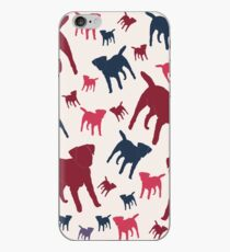 Border Terrier Gifts for Dog Lovers Deep Red, Cream & Navy Silhouette iPhone Case