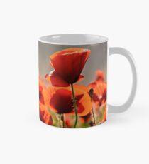 poppy flowers field at sunset Mug