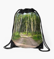 dirt road through beech forest Drawstring Bag