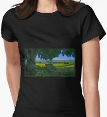 Rural area drawn Art Women's Fitted T-Shirt