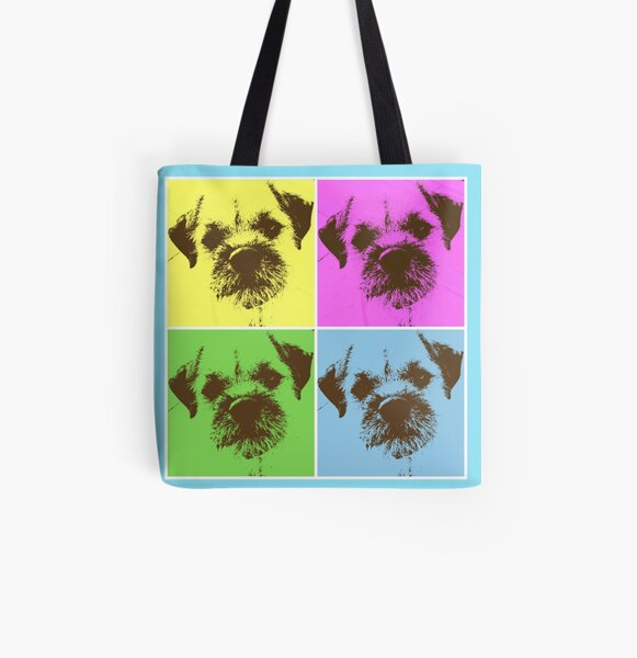Border Terrier Gifts for Dog Lovers Andy Warhol Inspired Neon Pink, Yellow, Green, Blue All Over Print Tote Bag