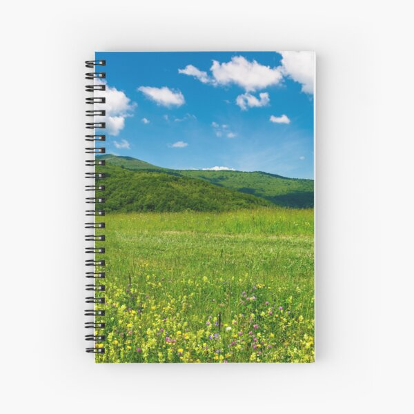 beautiful landscape with meadow in mountains Spiral Notebook