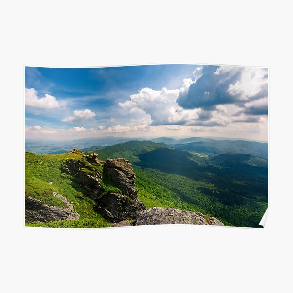 rocky cliff over the valley Poster
