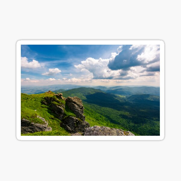 rocky cliff over the valley Sticker
