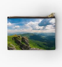 rocky cliff over the valley Studio Pouch
