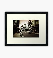 Vintage London Street With Bicycles Framed Print