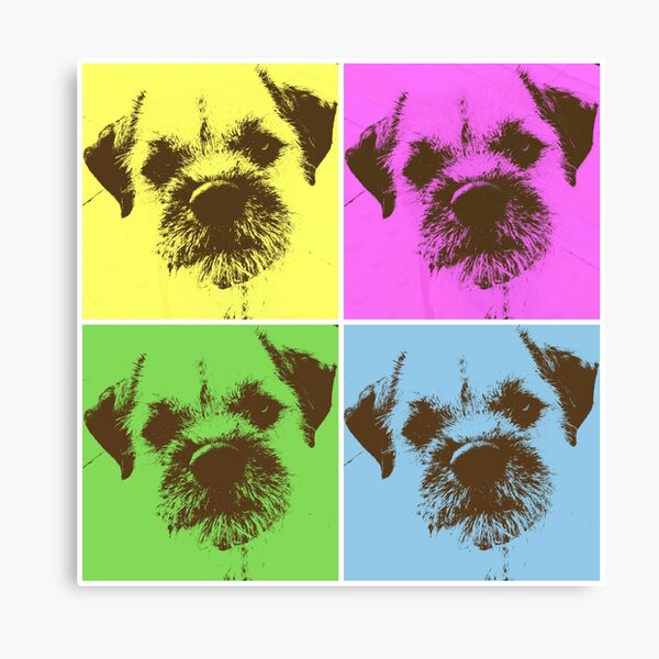 Border Terrier Gifts for Dog Lovers Andy Warhol Inspired Neon Pink, Yellow, Green, Blue Canvas Print