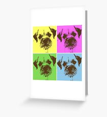 Border Terrier Gifts for Dog Lovers Andy Warhol Inspired Neon Pink, Yellow, Green, Blue Greeting Card