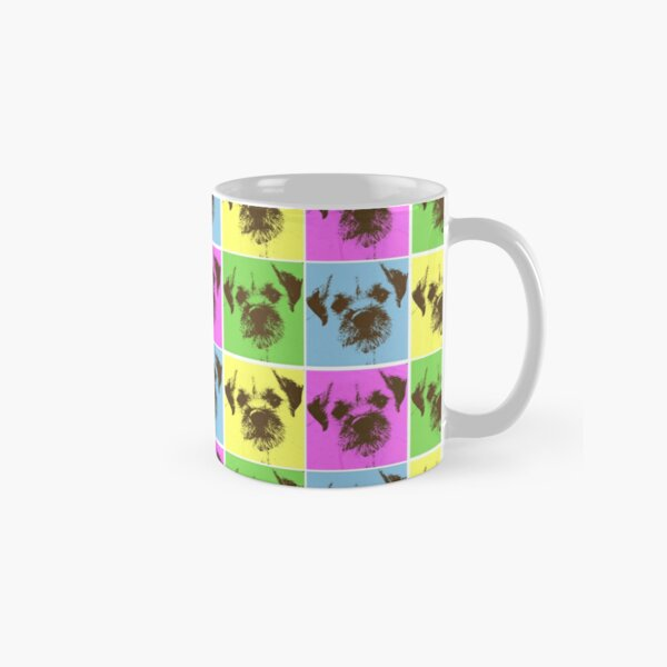 Border Terrier Gifts for Dog Lovers Andy Warhol Inspired Neon Pink, Yellow, Green, Blue Classic Mug