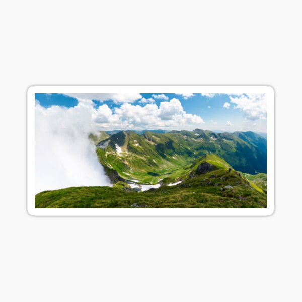 mountainous panorama with rising clouds Sticker