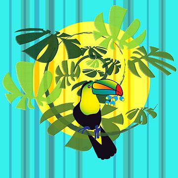 Toucan on Spiral Monstera by LidkaSchuch