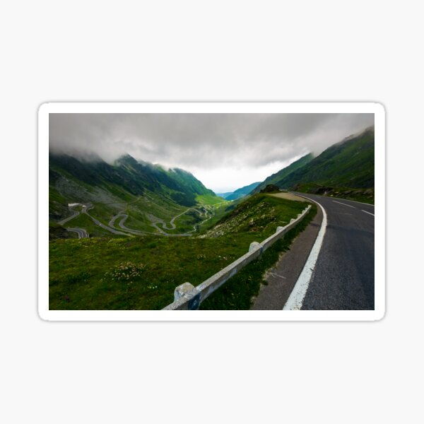 Transfagarasan road in stormy weather Sticker