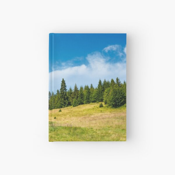 spruce forest on a grassy meadow Hardcover Journal