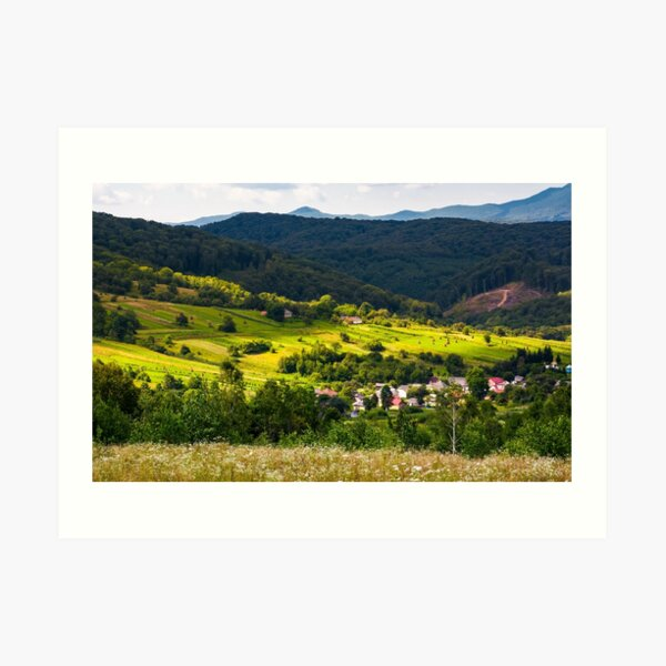 small Carpathian village in mountains Art Print