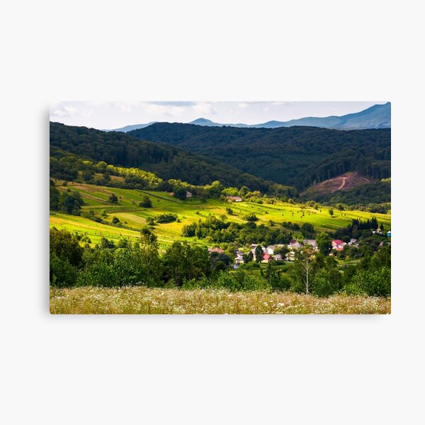small Carpathian village in mountains Canvas Print