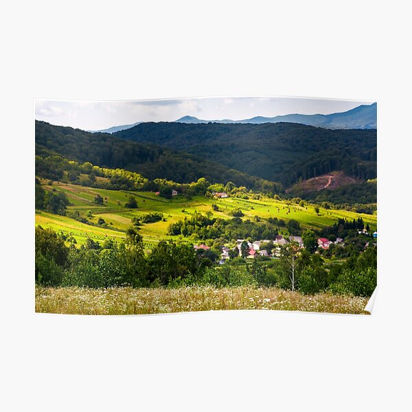 small Carpathian village in mountains Poster