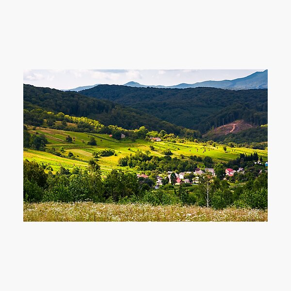 small Carpathian village in mountains Photographic Print