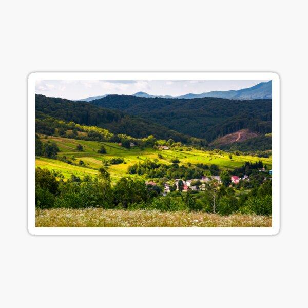small Carpathian village in mountains Sticker