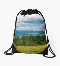 grassy meadow with wild herbs in mountains Drawstring Bag