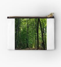 road through forest covered with weathered foliage Studio Pouch