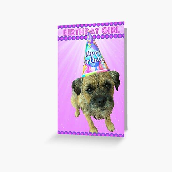 Border Terrier Birthday Girl Card Pink Greeting Card