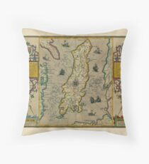 Map Of The Isle Of Man 1605 Throw Pillow