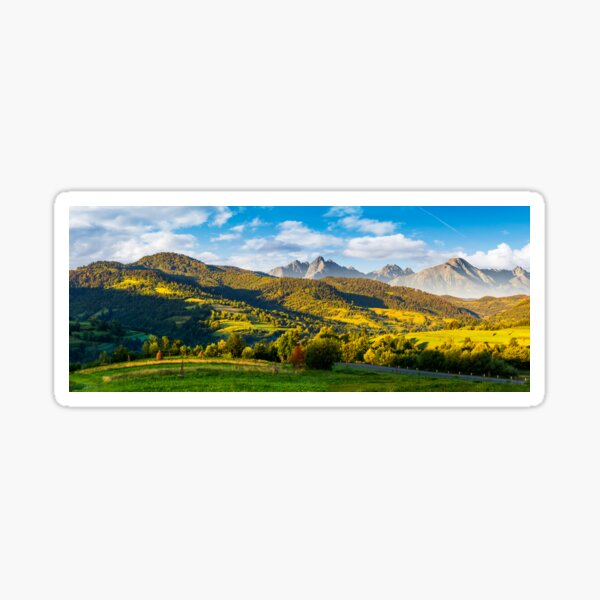mountainous panorama of countryside at sunrise Sticker