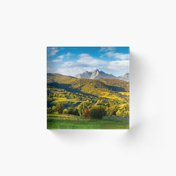 mountainous panorama of countryside at sunrise Acrylic Block