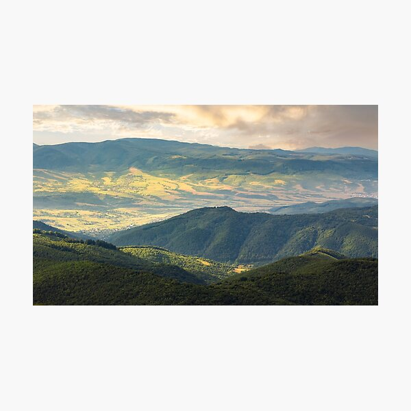 sun lit valley in afternoon Photographic Print