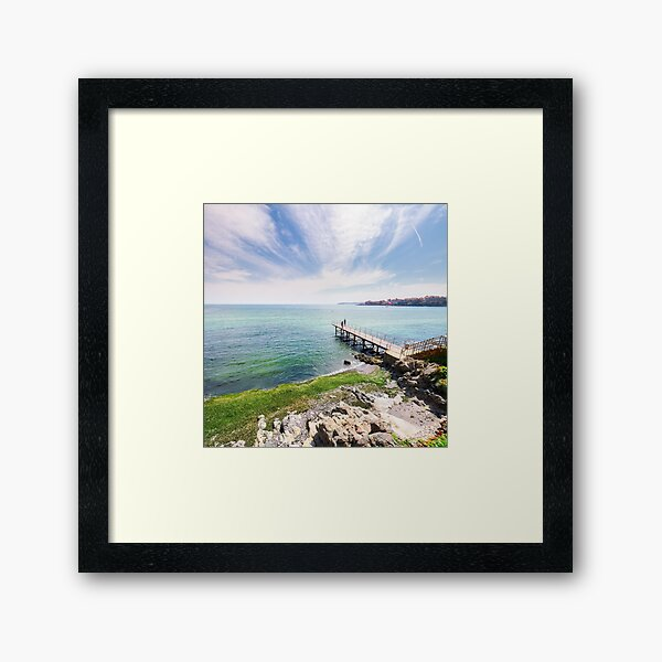 pierce on the seashore in summer  Framed Art Print