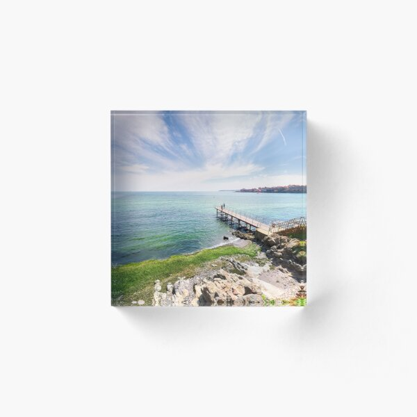 pierce on the seashore in summer  Acrylic Block