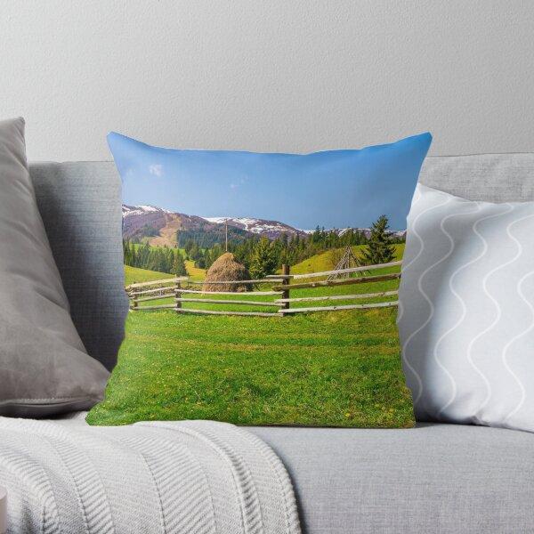 panorama of mountainous rural area Throw Pillow