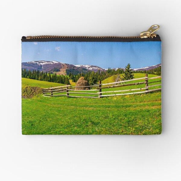 panorama of mountainous rural area Zipper Pouch