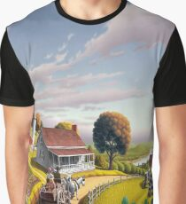 Appalachian Blackberry Patch Country Farm Folk Art Landscape - Rural Americana  Graphic T-Shirt