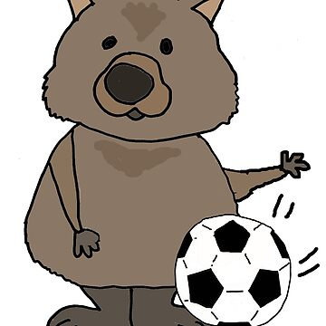 Funny Wombat Playing Football Cartoon by naturesfancy