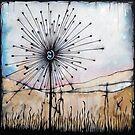 Dandelion in a field of grass in ink on paper by Nikolai Bird