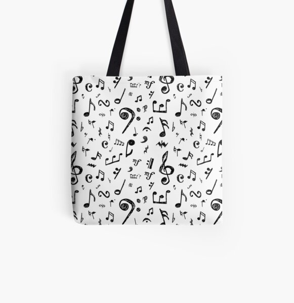 Musical Notes and Symbols All Over Print Tote Bag