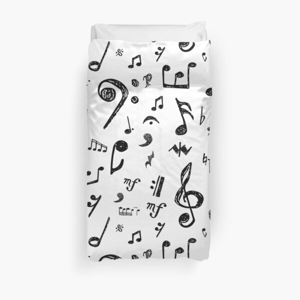 Musical Notes and Symbols Duvet Cover