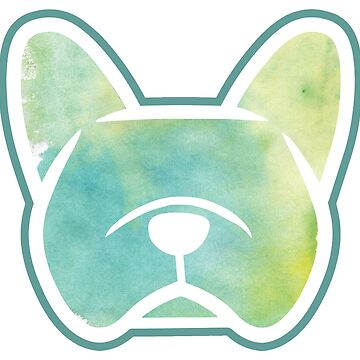 Frenchie blues and greens watercolor sticker by smooshfaceutd