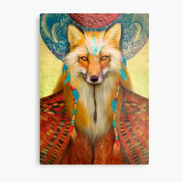 Wise Fox Metal Print