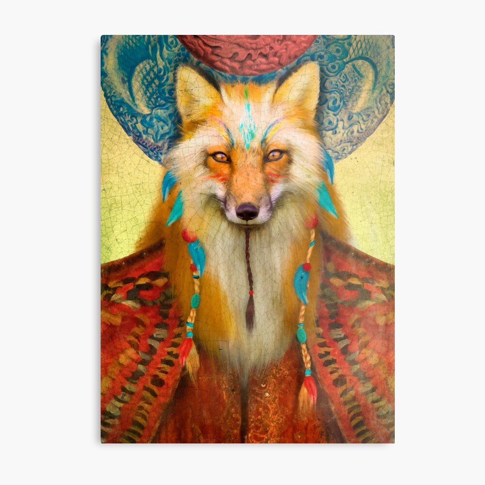Wise Fox Metal Print